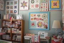 {Sewing} Studios & Storage / Studio eye candy and ways to keep it all organized. / by Becky @ Patchwork Posse