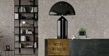 100% HOTEL | Design for Hotellerie / A Hotel Lobby and Suite decorated with different products to explore different aesthetic and cosmopolitan aspects.
