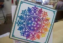Learn How to Use Kaleidacolor Ink / This board contains projects using Tsukineko's Kaleidacolor multi-color inkpad. Each Kaleidacolor has 5 different colored bands of water-based dye ink; the bands are attached to a unique sliding mechanism that separates the pads for storage...and with the push of the lever, connects them for continuous color use.