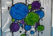 Art made with StazOn Studio Glaze / StazOn Studio Glaze creates a stained glass effect on transparent surfaces. Tsukineko.