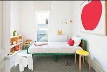Gender Neutral Modern Kids Room / Playful, mostly white and natural wood based rooms with injections of color.  Minimalist, uncluttered, fun.  Scandinavian with some vintage flair.