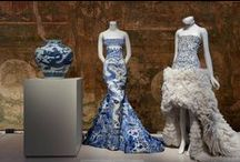 """Blue and White Chinoiserie / Inspired by the Metropolitan Museum of Art's 2015 fashion exhibit """"China: Through the Looking Glass,"""" a look at how the blue and white motif found in Chinese art and artifacts has inspired modern day fashion, interior design, and more."""