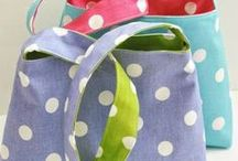 "Fabric Baskets/Bags/Buckets / I have this ""thing"" about fabric baskets and bags, not including purses.  It's really all about the fabric!   It's a good way to use up my fabric stash.  Purses are too tough to make for this seamstress!"