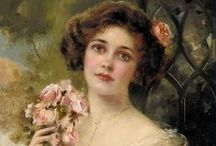 Vernon, Munier & Sully / Emile Vernon (1872-1920) mastered the graphics of his work. He painted in a clever, seductive manner that made his portraits charming and of a very high quality..... Émile Munier (2 June 1840 – 29 June 1895) was a French academic artist and student of William-Adolphe Bouguereau .I love his works !! ...Thomas Sully (American 1783 - 1872) / by Pat Thomas ~ My Vintage Dream