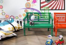 Mini bench for Kids / #minibench #furniture for #kidsroom #colorfull made from solid #mahogany wood #furnituretoday #gabeinternational