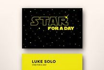 Star For A Day Business Card Template / You already know you can be a star for a day. Now you can share it with the world with these unique business/name cards inspired in Star Wars movies. Pass them out when you meet new people, share them with your friends. So cool, they can't help but keep you around. / by Koldo's Groovy Flipside
