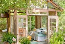 """She Sheds / The female equivalent to the """"man cave."""" Inspirations for a relaxing getaway retreat just for women."""