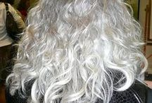 Curly, Thick, & Silver! / ~ ♥  Hairstyles & techniques for stunning curly-thick-silver hair!  ♥ ~