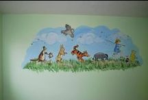 Baby Rooms / in preparation for painting a classic Pooh mural on my grandson-to-be, Christopher Douglas's, nursery wall