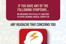 IT MIGHT BE MORE THAN JUST A HEADACHE / Headache. Dizziness. Sensitivity to light.  These symptoms could be signs of something more serious. If you experience any of these symptoms, don't wait to visit the ER at CRMC. With our streamlined, patient centered process, we'll have you back to better in no time. For more information about when to go to the ER for headache pain, talk with our nurses 24/7 by calling 855-614-7287, or visit us at www.CRMC-More2.com.