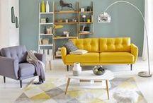 Inspiration Salon / Inspiration de décoration de salon dans les tons bleus, jaunes, blancs et gris.