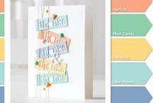 Color Coordinates / Creating inspiration through color, using combinations that are on trend in card making and scrapbooking.  Shari Carroll puts together unexpected colors that play well together.