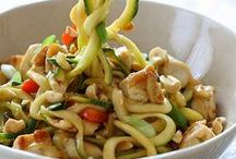 """Primal/Paleo """"Pastas"""" & """"Rice"""" / Dishes made with zucchini, sweet potato, cucumber, carrot etc """"pasta/noodles"""" and cauliflower """"rice"""" / by Julie T."""