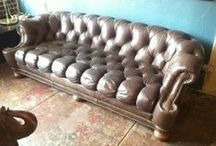 Vintage // Sofas / #vintagesofas   Love seat, settee, sofa, couch, tuxedo, chesterfield, rolled arms, leather, cow hide, buttoned, hand tacked, velour, naugahyde, caned, wicker,