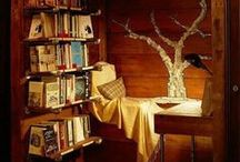 "Nooks & Everything Books / Comfy, cozy places to read and sip hot tea or coffee!  ""Books let us into their souls and lay open to us the secrets of our own."" -William Hazlitt"