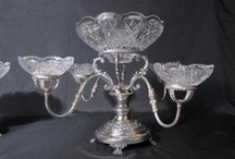 Silver Plate Centrepiece Epergne / We have a large range of gorgeous English silver plate epergnes and centrepieces. Many of the epergnes are Sheffield silver plate with cut glass bowls. Epergnes were traditionally used as part of a dinner service to serve sweets and appertisers.   http://www.canonburyantiques.com/s/silverplate/centrepiece-epergene/1/
