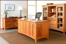 Home Office Wooden Furniture / The office: It's where you spend a large amount of your time. It's where you work. It's where you sit. It's what you enjoy 5 days a week. Why not make it beautiful? Upgrade your office with handcrafted, Vermont made office furniture. Our wood desks come in many styles and are ultra-customizable to fit your unique space. #WorkVermontStyle / by Vermont Woods Studios