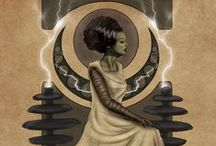 """Nouveau Bride of Frankenstein / This board took forever to color scheme! First it was green, then it was black, then Art Nouveau took the reins and created the sepia old-fashioned world that """"The Bride"""" adores.   / by Shelly Schwartz"""