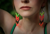 Glam and Neon -Scarlett Garnet Jewelry / Our Glam and Neon line is made from brass and florescent acrylic.  Hot Hot Hot