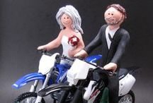 Dirt Bike and Off Road Motorcycle Wedding Cake Toppers / Greetings to all brides and grooms who love to off road ride !!...its a bumpy path indeed,  we have done our best to smooth out the trail to the best Dirt Bike Wedding Cake Toppers....if you ride a Honda, Suzuki, KTM,Yamaha, BMW or Triumph...whatever model is your favourite....along with whatever look you prefer,,,casual clothing or gown and suit...  totally handmade to order...call 1 800 231 9814