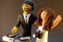 Disc Jockey and DJ Wedding Cake Toppers / DJ's Wedding Cake Topper..... the perfect wedding cake topper and keepsake for a disc jockey about to marry!...hand sculpted to the clients desire...also great for karaoke singers...let the mix master in your life be delighted by this personalized matrimonial figurine! 1 800 231 9814    ....PS...these unique handmade statues dont have to be used as caketoppers...they are great sculptures on their own !