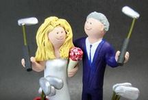 Golfers Wedding Cake Toppers / Wedding Cake Toppers for Golfing Brides and Grooms.... its a tee off for true love here with the greatest custom made cake toppers for golfers....want the wedding couple in gown and suit or casual golf clothing?....in a golf cart or on the green?...take a look at these examples and be inspired to collaborate with us to create you the ultimate wedding keepsake and cake topper!  www.magicmud. 1 800 231 9814