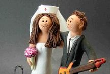 "Nurse's Wedding Cake Toppers / Wedding Cake Topers custom made for Nurses!... the prescription for ""true love"" has been located....these miniature works of art are hand sculpted to the clients specifications...the bride can be in nurse uniform, scrubs, gown or whatever she wants... take a look at the examples of nurse's wedding cake toppers  and get in touch with us to create your own personalized wedding keepsake! www.magicmud.com   1 800 231 9814"