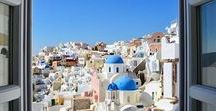 Santorini Architecture / Santorini is a cycladic island with a great architecture that white and blue surrounds it! http://goo.gl/DLdLLK