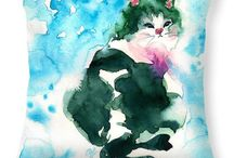 Meow~ / The cat paintings in watercolours. Contact me for the original paintings or Get the prints, pillows or tote bag by clicking the images.