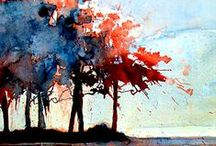tree art / Paintings of trees, branches, and leaves / by Barbara (Olyve) Harvie