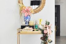 Bar Cart Styling Ideas / Inspiration and decor ideas for styling a chic and useful bar cart for entertaining, hosting a dinner party or for a holiday season.