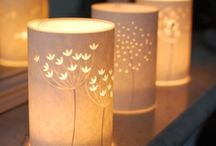 hannah nunn paper cut lighting / I design and make glowing paper cut table lamps, wall lamps, floor lamps and candle covers with delicate nature inspired laser cut designs. They have a golden glow and will spread light and cheer to your home.  I sell them on my website www.hannahnunn.co.uk and post them all around the world.