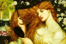 "The Pre-Raphaelites / ""He feeds upon her face by day and night, And she with true kind eyes looks back on him, Fair as the moon and joyful as the light: Not wan with waiting, not with sorrow dim; Not as she is, but was when hope shone bright; Not as she is, but as she fills his dream."""