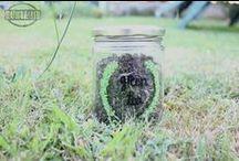 GREEN TEA JAR DIY / tarro de cristal decorados con una corona de flores pintada con pintauñas #DIY http://notonlyparties.blogspot.com.es/