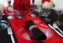 ~:Wedding Trend:~ Red, Black, & White / Striking Red, Stunning Black, and Crisp White come together to make an over the top elegant event.  This board has ideas for tablescapes, favors, cakes and more!