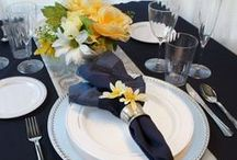 ~:Wedding Trend:~ Navy & Yellow / An versatile color scheme that can be dressed up or down.  Add in grey or silver as an additional color for your invites, suits or cake!