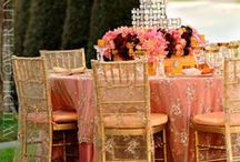 Chair Covers, Table Linens, Etc. / Love the variety of textures and prints / by Kimera, LLC Wedding & Event Planning