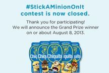 Stick A Minion On It - Summer 2013 / Instagram a Chiquita Bananas Minion Sticker with #StickAMinionOnIt and you could win a Despicable Me 2 Fun Pack or maybe $300! *** Our #StickAMinionOnIt contest is now closed for entries. Thank you for participating! We will announce the Grand Prize winner on or about August 8, 2013. *** Details: http://bit.ly/StickAMinionOnIt / by Chiquita Brands