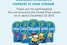 Stick A Minion On It / Instagram a Chiquita Bananas Minion Sticker with #StickAMinionOnIt and you could win a Despicable Me 2 Fun Pack or maybe $500! Details: http://bit.ly/StickAMinionOnIt  / by Chiquita Brands