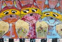 Loekie's Originelen / acryl schilderijen op canvas