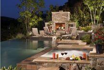 Backyard Fireplace / Backyard Fireplace for outdoor living / by Roger Worsham