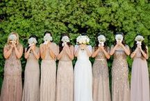 Bridal Party / Sparkly or beaded bridesmaid gowns in neutral shades like nude, gold, rose gold, blush and dusty rose.