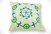 Cotton Cushion Covers / The combination of white with striking colours and embroidery!