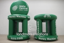 Cash Booths / A hilarious way to earn crowd participation. Inflate the money machine, fill it with dollars, coupons or tickets, turn on the fan and watch the fun begin. All are custom branded for your company.