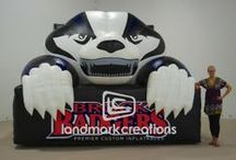 Mascots & Characters / Custom inflatable mascots make a strong emotional connection. Kids and adults alike stand amazed at these inflatable advertising icons towering over head. Durable enough for outdoor use, sealed, cold-air or inflatables can be produced for any business, organization or sports team.
