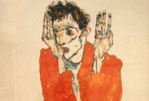 EGON SCHIELE /  He was rather impressed by the linear, twodimensional style of Gustav Klimt and the Vienna Secessionists, who spoke out as an artists' group against the stiff academic conventions of the historical school and in favour of a reconciliation of art and life. 