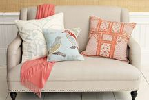 Bedroom ideas for my friend. / Helping come up with ideas for guest room.  Color swatches compliment the bedding. (floral-star quilt in peach-coral tones with sage green and white).