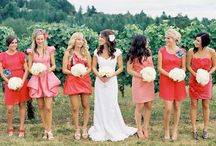 Bridesmaids Coral and Champagne