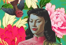 """tretchikoff and friends / Vladimir Grigoryevich Tretchikoff  (1913 - 2006) was one of the most commercially successful artists of all time - his painting Chinese Girl (popularly known as """"The Green Lady"""") is one of the best selling art prints ever. Tretchikoff was a self-taught artist who painted realistic figures, portraits, still life and animals. Tretchikoff's work was immensely popular with the general public, but is often seen by art critics as the epitome of kitschs indeed, he was nicknamed the """"King of Kitsch"""".  Reproductions of his paintings were so popular that it was said Tretchikoff was second only to Picasso in popularity."""