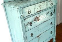 Chalky Finish Paint and Milk Paint / Vintage, time-worn looking furniture - store bought pieces or flea market finds look like they came from a European estate sale or a French countryside cottage